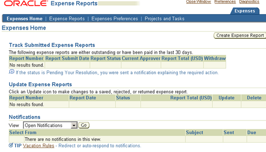 oracle iexpenses process flow
