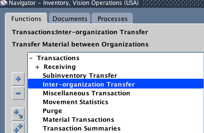 Oracle Inter organization transfer