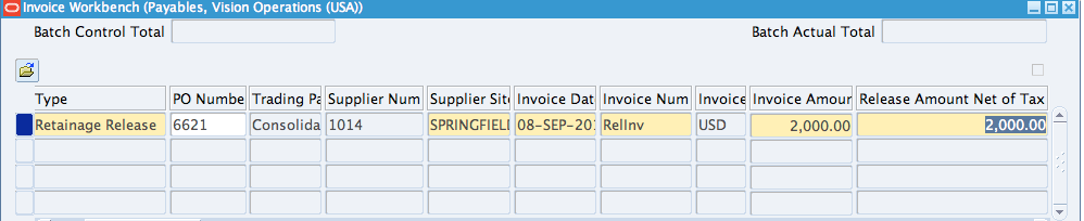 Retainage Release Invoices in Oracle AP - erpSchools