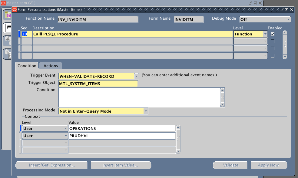 Oracle apps forms personalization call procedure