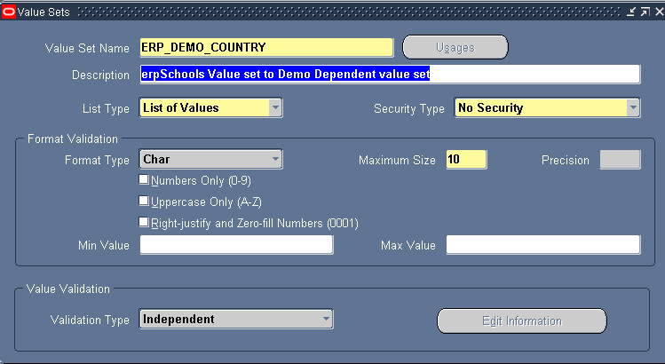Value Sets: Independent, Dependent, Table - erpSchools